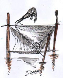filets pêche en baie du mont saint Michel activité disparue
